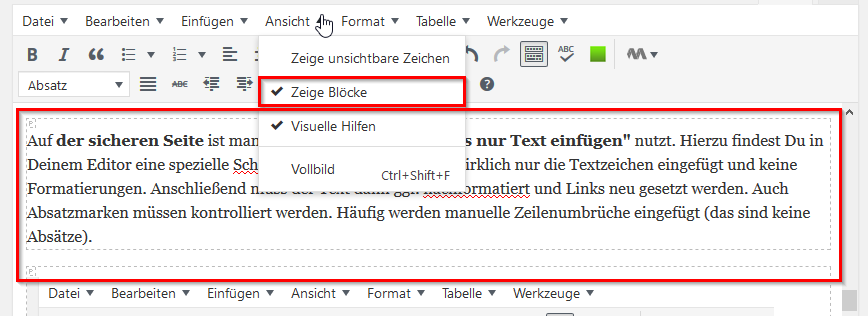 Zeige Blöcke im EditorScreenshot